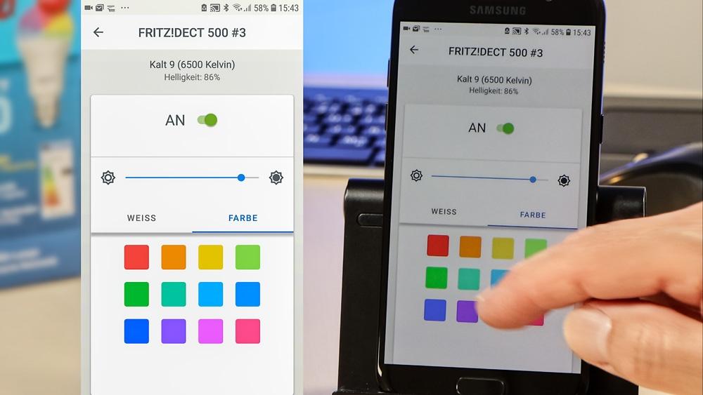 Bedienung der FRITZ!DECT 500 LED-Lampe per FRITZ!App Smart Home von AVM