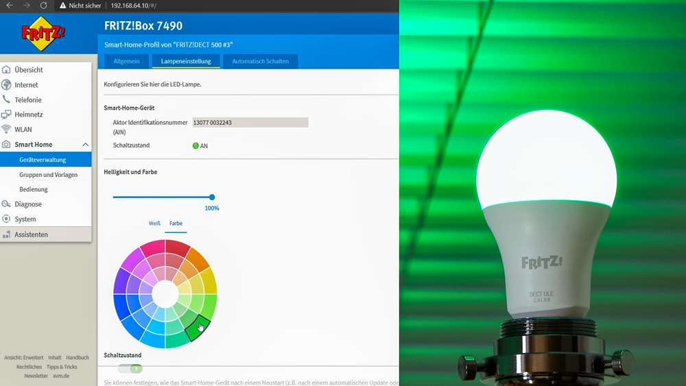 Bedienung der FRITZ!DECT 500 LED-Lampe über die FRITZ!Box von AVM