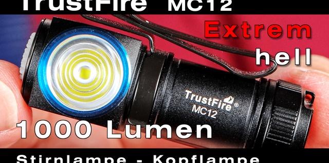 TrustFire MC12 Stirnlampe mit extrem heller Cree LED für Hobby, Beruf und Reise