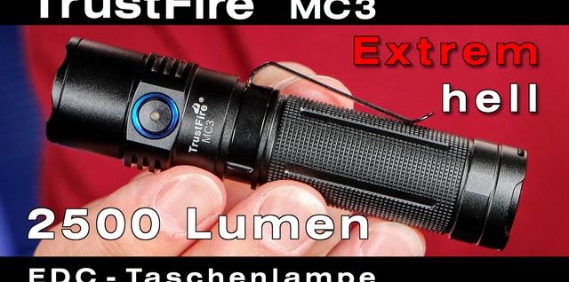 TrustFire MC3 Taschenlampe mit extrem heller Cree LED für Hobby, Beruf und Reise