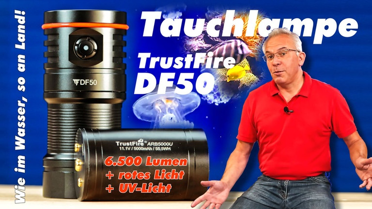 Günstige Tauchlampe TrustFire DF50 für Unterwasservideos im Test